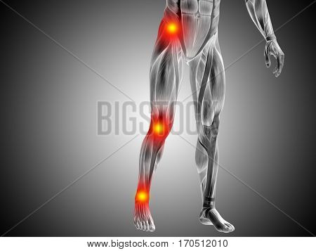 Conceptual 3D illustration of human man anatomy lower body health design, joint articular pain, ache injury on gray  background for medical fitness medicine bone care hurt, osteoporosis arthritis body