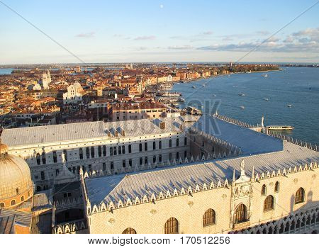 Stunning View of the Famous Doge's Palace and Venice Cityscape with the Evening Moon, Italy