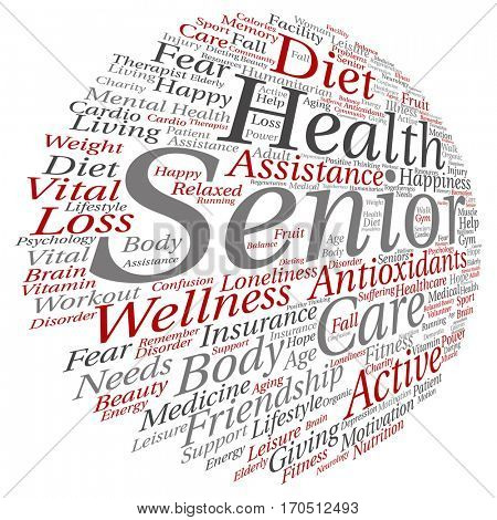Concept conceptual old senior health, care or elderly people abstract word cloud isolated on background metaphor to healthcare, illness, medicine, assistance, help, treatment, active or happy