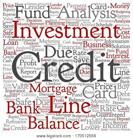 Concept or conceptual credit card line investment balance square word cloud isolated on background metaphor to money analysis, business fund balance, estate, mortgage, safe refinance solution