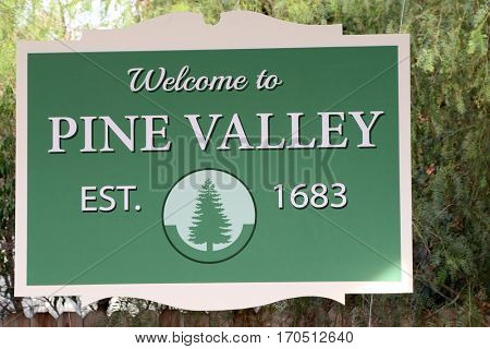 LOS ANGELES - JAN 5:  Pine Valley Signage at the