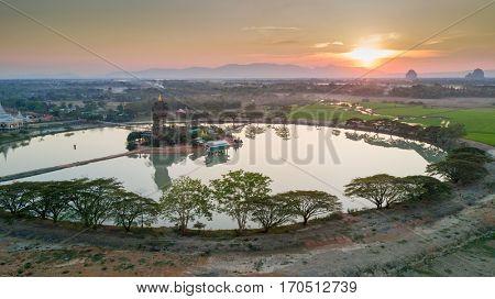 Aerial view of the Kyauk Kalap pagoda, Hpa-An, Myanmar