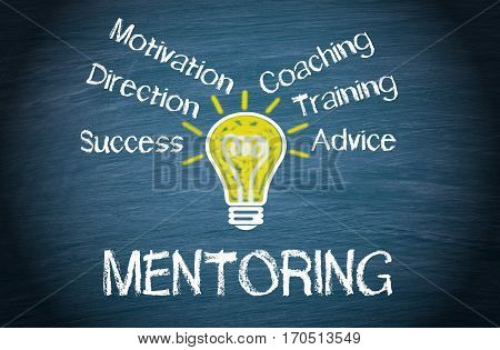 Mentoring Business Concept - light bulb with text on blue background