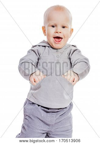 Boy portrait looking straight laughing isolated on white
