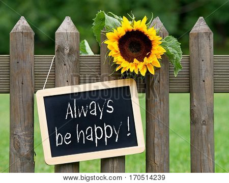 Always be happy - chalkboard with sunflower in the garden