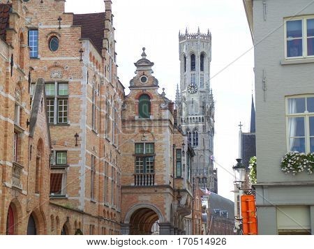 Belfry of Bruges and the vintage buildings in the historical center of Bruges, Belgium