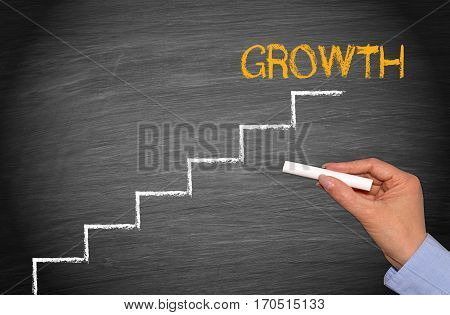 Growth - business success concept chalkboard with ladder and text