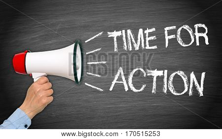 Time for action - female hand with megaphone and text