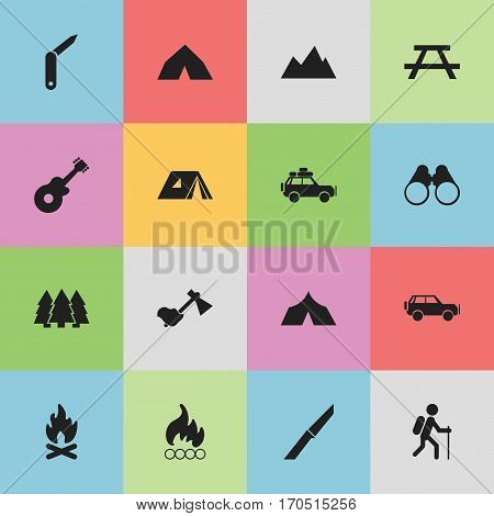 Set Of 16 Editable Camping Icons. Includes Symbols Such As Voyage Car, Tepee, Refuge And More. Can Be Used For Web, Mobile, UI And Infographic Design.