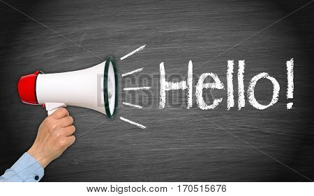 Hello - female hand with megaphone and text