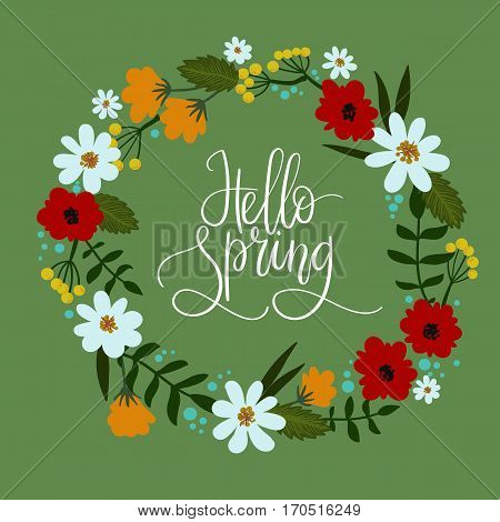 Hello Spring hand lettering greeting card. Hand drawn illustration with floral wreath. Modern calligraphy. Decorative floral frame. Vector Illustration.