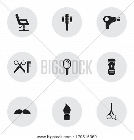 Set Of 9 Editable Hairstylist Icons. Includes Symbols Such As Reflector, Charger, Elbow Chair And More. Can Be Used For Web, Mobile, UI And Infographic Design.