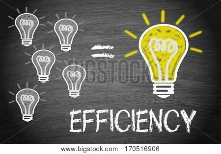 Efficiency - light bulbs with text on blackboard background