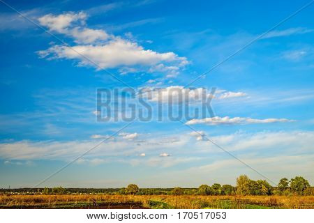 Typical Ukrainian rural landscape in spring, Ukraine. Agricultural fields and forest on the horizon, Irpin, Ukraine. Farmers working on farm land.