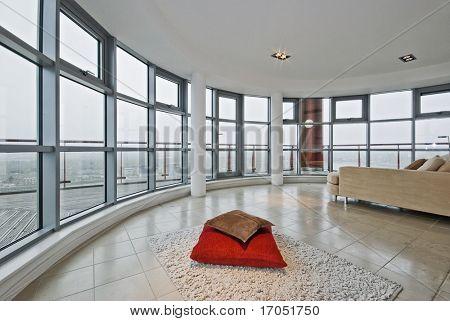luxo moderno apartamento com do chão ao tecto e vistas panorâmicas