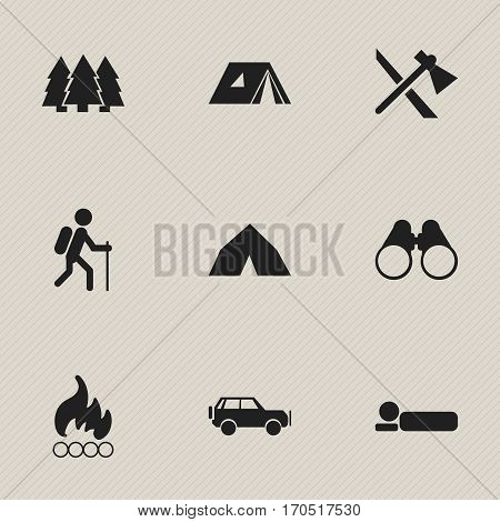 Set Of 9 Editable Trip Icons. Includes Symbols Such As Sport Vehicle, Shelter, Blaze And More. Can Be Used For Web, Mobile, UI And Infographic Design.