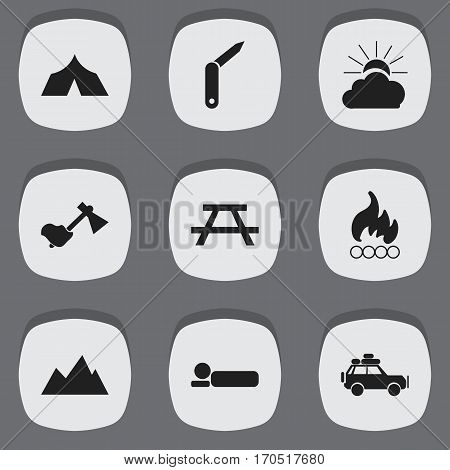 Set Of 9 Editable Travel Icons. Includes Symbols Such As Bedroll, Peak, Clasp-Knife And More. Can Be Used For Web, Mobile, UI And Infographic Design.