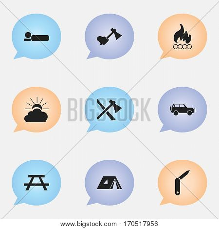 Set Of 9 Editable Trip Icons. Includes Symbols Such As Clasp-Knife, Desk, Tomahawk And More. Can Be Used For Web, Mobile, UI And Infographic Design.