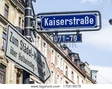 street name Kaiserstrasse it is in the red light district in Frankfurt