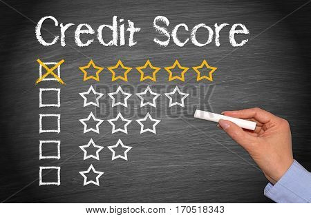 Credit Score - five stars evaluation chalkboard