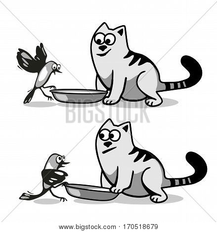 The bird wants to eat cat food. Isolated on white background. Vector black and gray flat illustration.