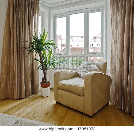 detail shot of a living room with a bay window armchair and plant