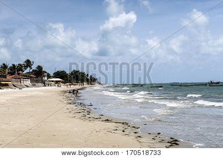 People Enjoy The Beach At Ponta Preta In The Island Of Capo Verde In Brazil
