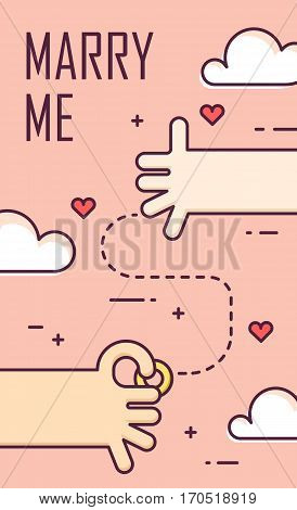 Proposal marriage. Thin line flat design banner for engagement day. Marry me. Background with hands ring and hearts. Vector.