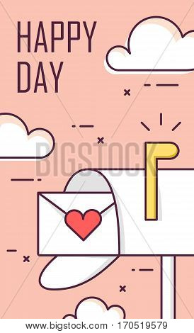 Greeting card for Valentine's day with mailbox envelope and clouds. Thin line flat design. Happy Day. Vector.