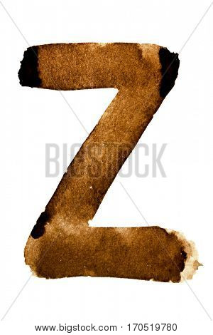 Letter Z -- alphabet in coffee