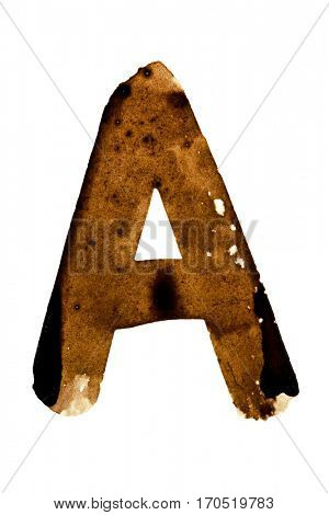 Letter A -- alphabet in coffee