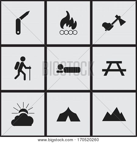 Set Of 9 Editable Camping Icons. Includes Symbols Such As Blaze, Peak, Refuge And More. Can Be Used For Web, Mobile, UI And Infographic Design.