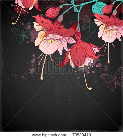Red tropical flowers and butterflies on a black background