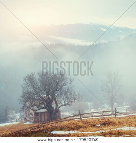 Wooden old house in the mountains in a foggy weather.