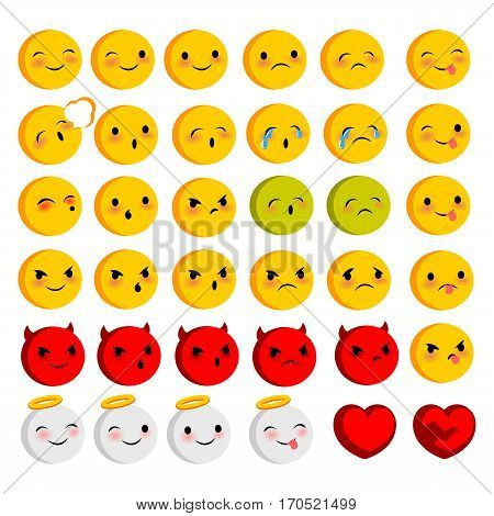 Emotional faces smiles big set. Vector illustration smile icon. Face emoji yellow icon. Smile cute funny emotion face on transparent background. Happy feelings, expression for message, sms.