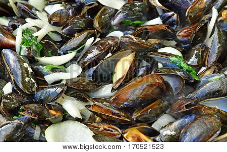 close up of marinieres mussels a French recipe with shallot and white wine
