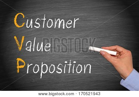 CVP - Customer Value Proposition - chalkboard with text
