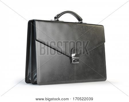 Black leather briefcase isolated on the white background. 3d illustration