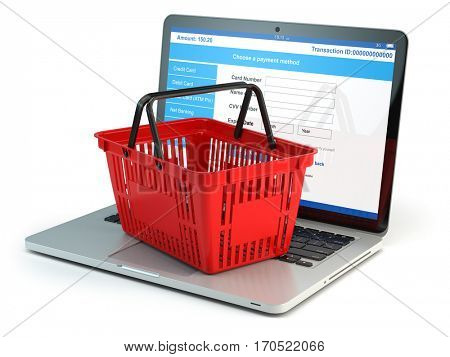 Online shopping e-commerce concept. Shopping basket on laptop keyboard isolated on white background. 3d illustration