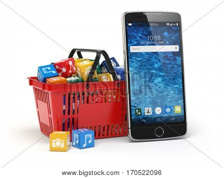 Mobile phone application software icons in the shopping basket  isolated on white background. Store of apps concept. 3d illustration