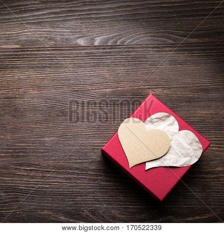 Valentine's Day giftbox Background for congratulations valentine view top vintage retro