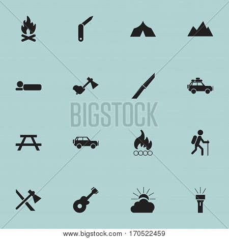 Set Of 16 Editable Travel Icons. Includes Symbols Such As Tomahawk, Sunrise, Voyage Car And More. Can Be Used For Web, Mobile, UI And Infographic Design.