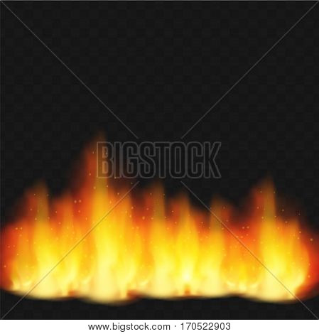 Realistic fire flame. Hot fire. Vector illustration realistic element  design on transparent background. Burn and warm, heat, energy flammable, flaming fire sparkle.