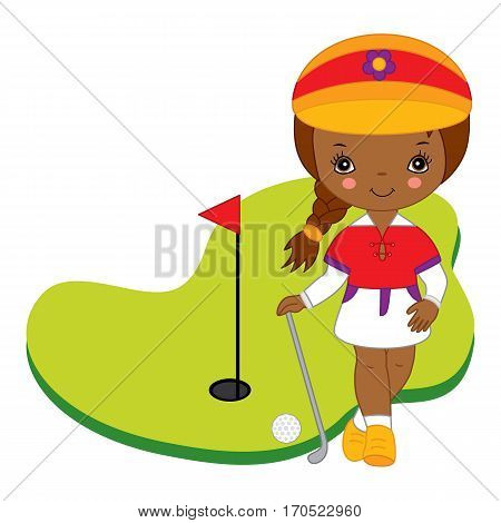 Vector African American little girl playing golf