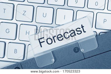 Forecast - folder with text on computer keyboard