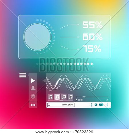 Vector web design elements on blurred background. Music player box social infographic template. Flat ui design transparent infographic app. User interface wizard buttons on minimalistic backdrop.