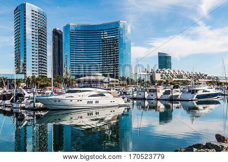 SAN DIEGO, CALIFORNIA - JANUARY 8, 2017:  Yacht marina, convention center and hotels at Embarcadero Marina Park North.