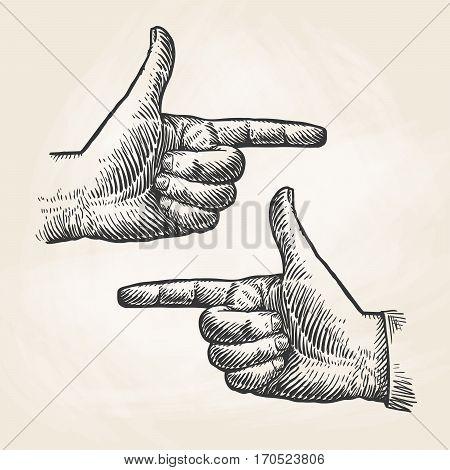 Vintage pointing hand drawing. Forefinger, index finger sketch