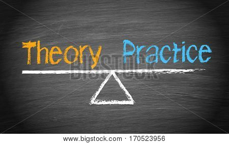 Theory and Practice - balance concept seesaw