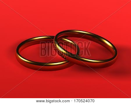 Two gold wedding rings objects close-up red background 3d rendering